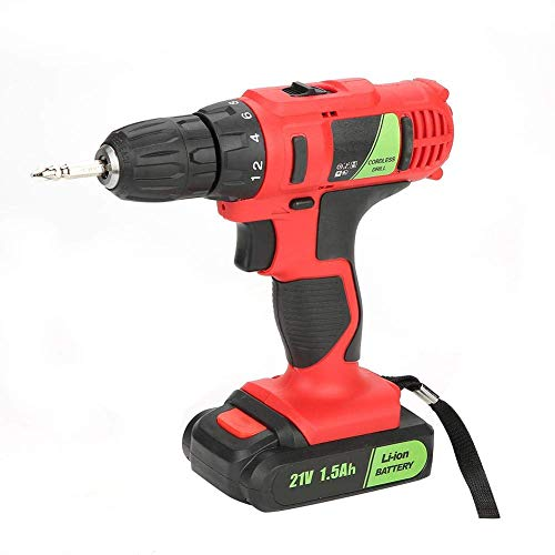 JF-XUAN Cordless Electric Drill Electric Drill Rechargeable Cordless Electric Screwdriver Industrial Handheld Tool 21V(UK Plug)