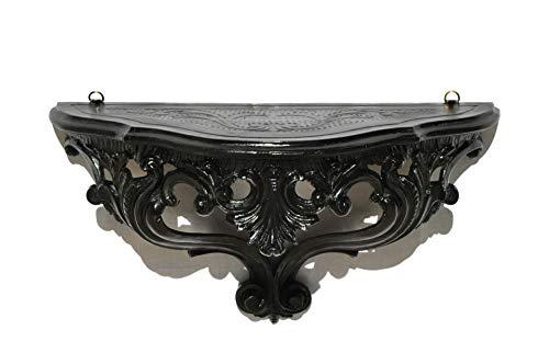 Idea Casa Louis XVI - Étagère console noire et noire - Style baroque - Faux vintage - 20 x 38,5 x 15,5 cm