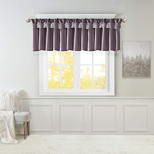 "Emilia Faux Silk lilac Valances for Windows Elegant , Unique Valances for Windows , 50""W X 26""L , Purple"