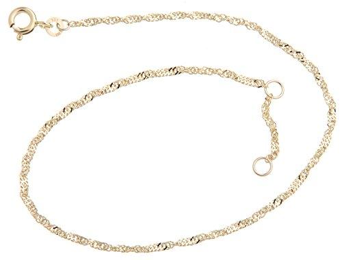 Silberketten-Store Fußkette Singapur - 1,8mm Breite - Länge wählbar 23-30cm - echt 333 Gold