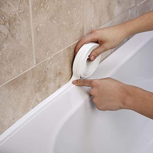 Riakoob Caulk Strip Tape, PE Self-Adhesive Decorative Sealing Tape, Used for Kitchen Sink Toilet Bathroom Bathtub Floor Wall Edge Protector(White ;Length:10.5 feet)