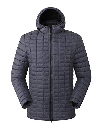 Outdoor Ventures Men's Hooded Winter Puffer Quilted Jacket Lightweight Thermolite Water-Resistant Down Alternative Jacket-2XL