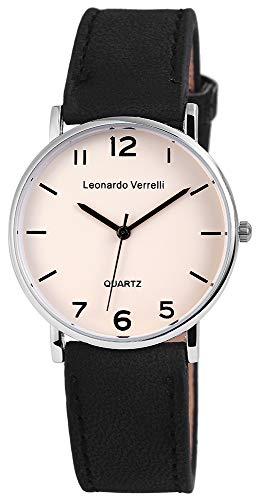 Leonardo Verrelli Unisex - Uhr Lederimitations Herren Damen Armbanduhr 2910002 (Schwarz)