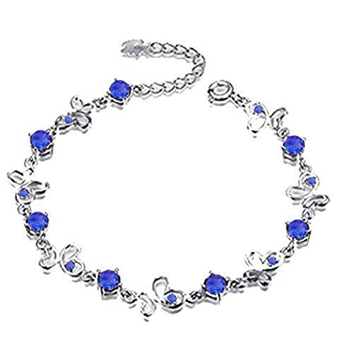 findout signore swarovsky ametista argento / blu / rosa / Multi-color braccialetto farfalla .per donne ragazze. (f1138) (blu)