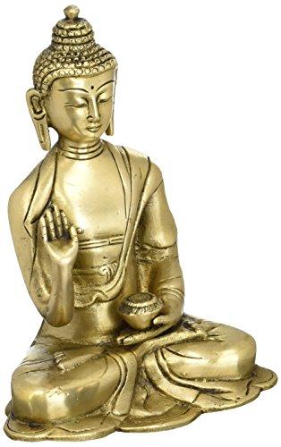 Shalinindia Bouddhiste Décor Laiton Métal Art L'illumination de Bouddha Statue 15,2 cm