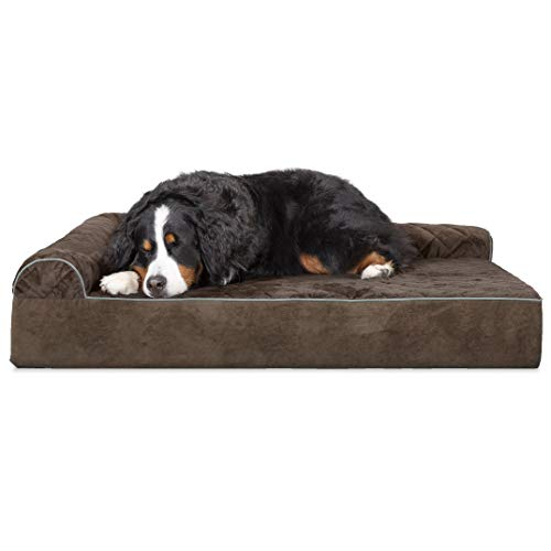 Furhaven Pet Dog Bed | Deluxe Orthopedic Goliath Quilted Faux Fur & Velvet L Shaped Chaise Lounge Living Room Corner Couch Pet Bed w/Removable Cover for Dogs & Cats, Espresso, 3XL