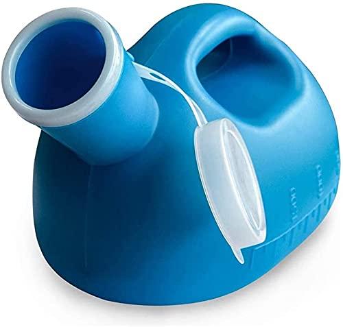 Botella de orina para hombre, portátil, a prueba de salpicaduras, para orina, para adultos, orinales de plástico grandes, para hospitales, incontinencia, ancianos, viajes (color azul)