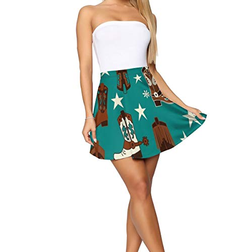 Slim Fit Skater Skirt Beautiful Colourful Cotton Teal Cowboy Boots A-Line Skirts for Women & Girls - Versatile Stretchy Flared Wave Skirt Travel Summer Skirt Outfits Uniform Skirts