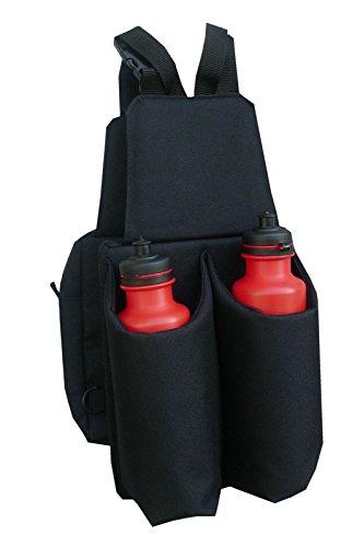 Reitsport Amesbichler AMKA Satteltasche Doppelpacktasche mit 2 Getränkeflaschen, getrennt oder einzeln nutzbar Robustes Nylonmaterial schwarz ***