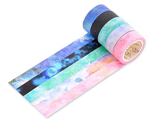 DSstyles 10M Adhesivo Creativo Reposicionable Scrapbooking Craft Stripes Dots DIY Japonés Masking Tapes Decorativo Sticky Washi Cinta Colección Set