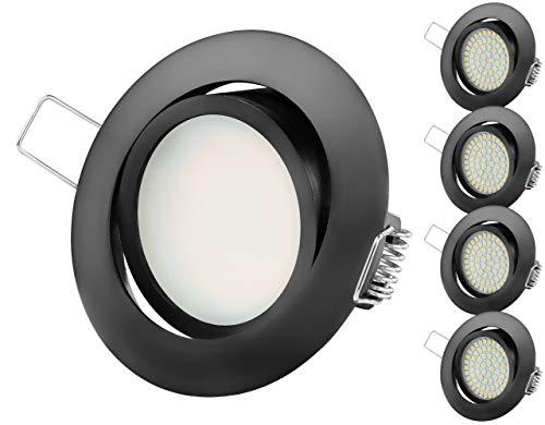 TEVEA PREMIUM LED Einbauleuchte - 230v - Schwenkbare LED Einbaustrahler - Warmweißes Licht - Deckenspot - Austauschbar - Ultra Flach - Energieklasse A+ - (5-er set) (Schwarz-Warmweiss(2800K))