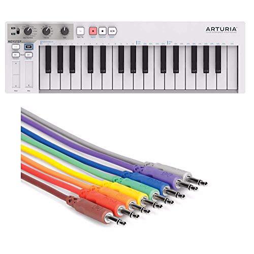 Arturia KeyStep Portable Keyboard Controller / Arppegiator und CV-Gate Plus Hosa 8 Pack 3,5mm TS auf 3,5mm TS Patchkabel
