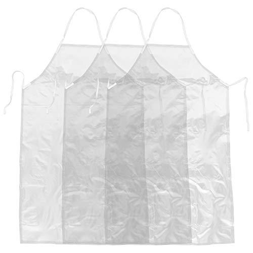 HEALLILY 3 Piezas Transparente Impermeable Delantal de PVC Plato Lavado Delantal Chef Delantal Barbero Cocina Babero para Camarero Servidor Restaurante Cocina Café Barbacoa Dibujo