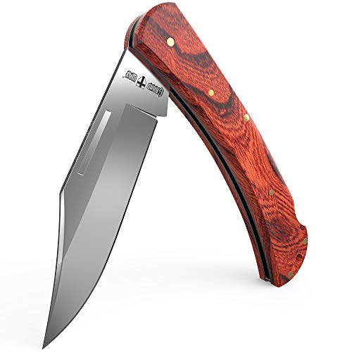 Pocket Folding Knife - Folding Knife - EDC and Outdoor Large Fold Classic Stainless Steel Polished Bowie Blade with Wooden Handle - Best Strong Folding Pocket Knife for Urban and Hiking Grand Way 5058