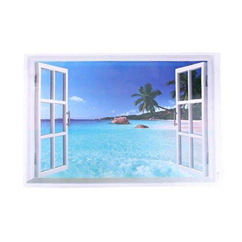 偽窓ステッカー ウォールステッカー 窓ポスター 3D ステッカー 壁紙シール 海 ビーチ ヤシの木 壁飾り 窓枠 絵 窓の景色 ビニール製 インテリア 貼って剥がせる 風景