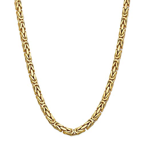 14k Yellow Gold 6.50mm Link Byzantine Chain Necklace 24 Inch Pendant Charm Fine Jewelry For Women Gifts For Her