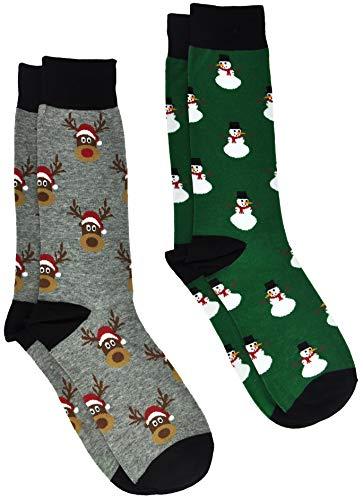 360 Threads Men's Novelty Socks - 2 Pair Set (Christmas Reindeer & Snowman)