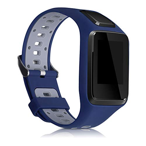 kwmobile Watch Band Compatible with Tomtom Adventurer/Runner 3/Spark 3/Golfer 2 - TPU Silicone Watch Band Replacement - Blue/Grey