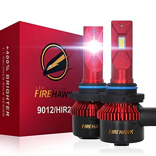 Firehawk 2021 New 9012/HIR2 LED Bulbs, 15000LM Japanese CSP, 400% Brightness, 200% Night Visibility, 6000K Cool White, Pack of 2