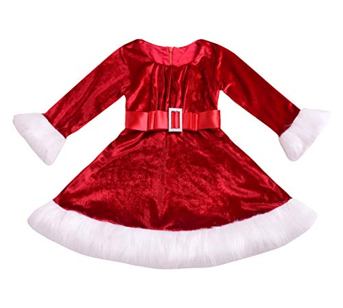 Little Girls' Holiday Christmas Santa Sparkle Hood Red Dress with Belt
