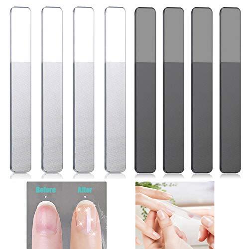 Glas Nagelfeilen, 8 Stücke Glasnagelfeilen Professionelle Doppelseitig Glasnagelfeile Nagelfeile für Naturnägel, Perfekte Maniküre und Pediküre Nagelpflege