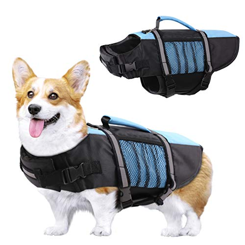 KOESON Dog Life Jacket Safety Pet Life Vest, Adjustable Dogs Lifesaver with High Buoyancy and Rescue Handle, Ripstop Life Preserver for Small Medium and Large Dogs at The Swimming Pool, Beach