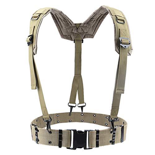 Tirantes para Hombre Ajustable Táctico Ligero De La Cintura del Arnés del Cinturón De Hombro Al Aire Libre Conjunto Militar De La Cintura De La Banda De Protección For Adultos (Color : Brown)
