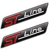 TAYDMEO Etiqueta de línea ST de Metal Etiqueta engomada del Emblema de la Cabeza del Coche Etiqueta cromada, para Ford Fiesta Focus Mondeo