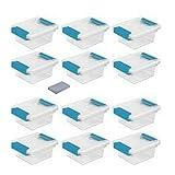 Sterilite Mini Plastic Storage Container Tote Bin with Aquarium Blue Latches and Lid (12 Pack)