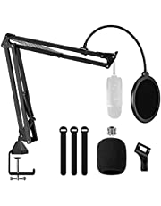 "Microphone Arm Stand,Adjustable Suspension Boom Scissor Mic Stand with Pop Filter, 3/8"" to 5/8"" Adapter, Mic Clip, Upgraded Heavy Duty Clamp for Blue Yeti Nano Snowball Ice and Other Mics"