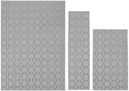 Garland Rug Sparta Area Rug Set, 3-Piece (5'x7', 3'x4', 24'x60'), Silver