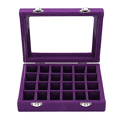 KoelrMsd Caja organizadora de exhibición de Anillo de joyería de Vidrio de Terciopelo de 24 Rejillas Caja de exhibición de joyería de Soporte de alenamiento de Pendientes