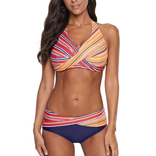 Asalinao Damen Strand Split Regenbogen Print Bikini Set Push Up Strand Badeanzug