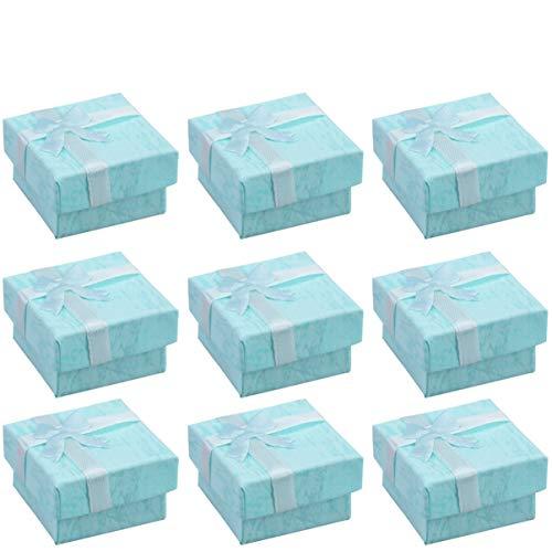 Angoily 24 Piezas Cajas de Regalo de Joyería de Papel Cajas de Anillo de Collar de Pendientes de Cartón Cajas de Almacenamiento de Joyas Cubo Cintas de Satén Bowknot para Aniversario Boda