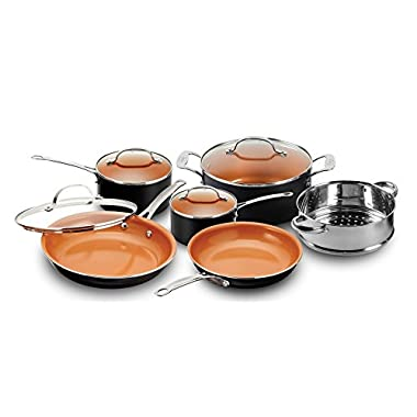 Gotham Steel 10-Piece Kitchen Set with Non-Stick Ti-Cerama Coating by Chef Daniel Green - Includes Skillets, Fry Pans, Stock Pots and Steamer Insert – Black
