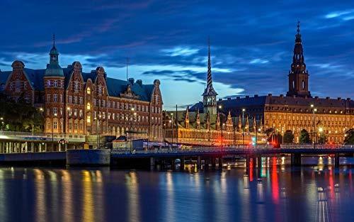 OKOUNOKO Puzzles 150 Piezas, Dinamarca, Edificio Histórico, Decoración para El Juego De Juguetes para El Hogar, 10X15Cm