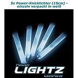 Power Lightz 5 Stück Power-Knicklichter (1,5 x 15 cm) in weiß mit Haken und Befestigungsband, sehr...