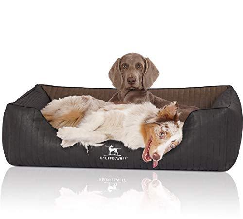 Knuffelwuff Orthopädisches Hundebett aus laser-gestepptem marmoriertem Kunstleder Rough Road XL 105 x 75cm Schwarz/Braun