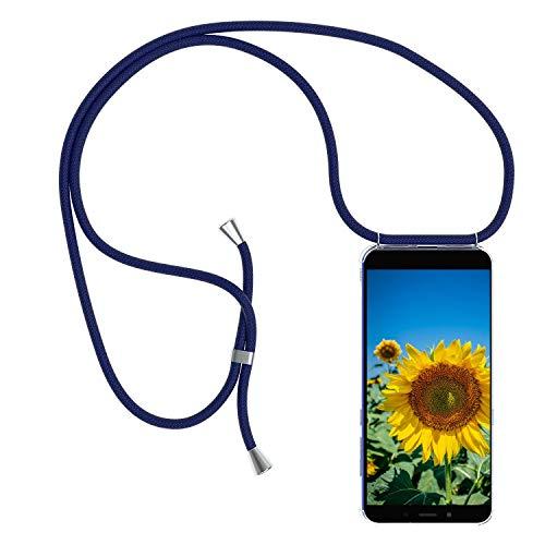 MXKOCO Funda con Cuerda para LG K40S Carcasa de movil con Cuerda para Colgar - PC Funda con Correa para Hombro y Cordón Colgante/Carcasa Banda con Cordon para Llevar en el Cuello - Azul Oscuro