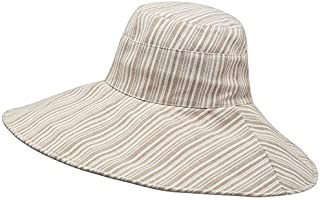 CHENDX Hat Female Cotton Striped Big Fisherman Hat Spring and Summer New Hat Outdoor Sun Protection Sun Hat (Color : Beige)