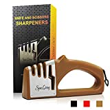 Sync Living Knife and Scissor Sharpeners,4 Stage Knife Sharpener, 4-in-1 Knife and Scissors Sharpener with Diamond, Ceramic, Tungsten, Kitchen Tools for Kinds of Knives, Tan