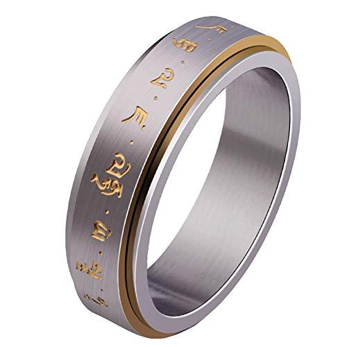 BQZB Ring Mantra Ringen Spinner voor Veel Geluk Ring voor Mannen Geborsteld Ontwerp met Gouden Kleur Letter Punk Stijl 6 Maten Ring