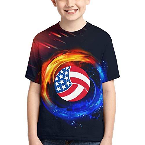 Cute USA Volleyball Camiseta con Estampado de niño y niña, Camisetas geniales con Cuello Redondo en 3D, Camisetas de Manga Corta para niños