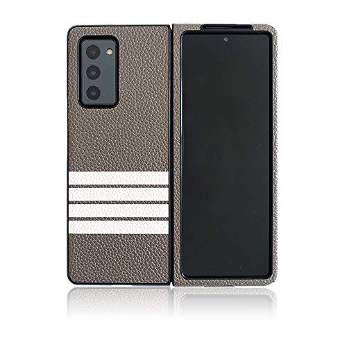 EZICOK Kompatibel mit Samsung Galaxy Z Fold 2 Lederhülle, minimalistisch, ultradünn, langlebig, Schutzhülle für Samsung Galaxy Z Fold2 5G 2020 (weiße Streifen)