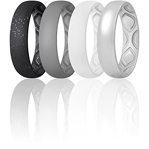 ThunderFit Women Breathable Air Grooves Silicone Wedding Ring Wedding Bands Promise Rings 5.5mm - 4 Rings (Black With Silver Glitter, Silver, Grey, White, 5.5 - 6 (16.5mm))