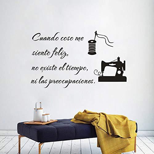 JXND Cuando Coso, Apliques de Vinilo de Texto de Costura en español Me Siento Muy Feliz Cita Etiqueta de la Pared Tienda de Ropa decoración máquina de Coser póster de Pared 95x57 cm
