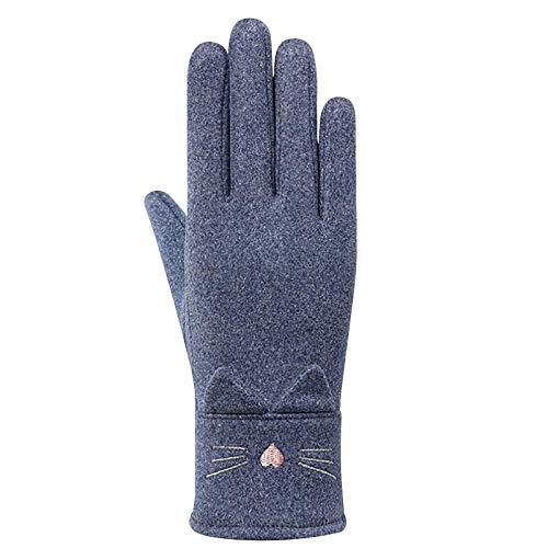 Guantes Moto Invierno Mujer, Guantes De Esquí Más Cinco Dedos Engrosados de Terciopelo para Mantener El Calor En Invierno Al Aire Libre: Orejas De Gato