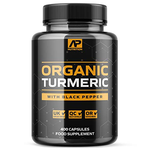 Organic Turmeric Capsules – 1500mg per Serving – 4+ Months Supply – UK Certified Organic with Added Black Pepper (400 Capsules)
