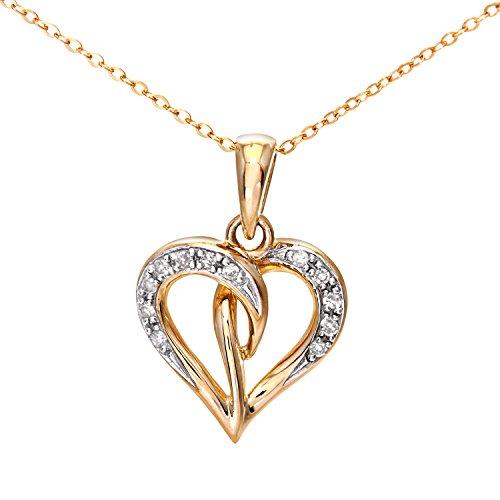 Naava Damen-Halskette 9 Karat 375 Gelbgold Diamant 0,05 ct weiß Rundschliff 46 cm PP04240Y