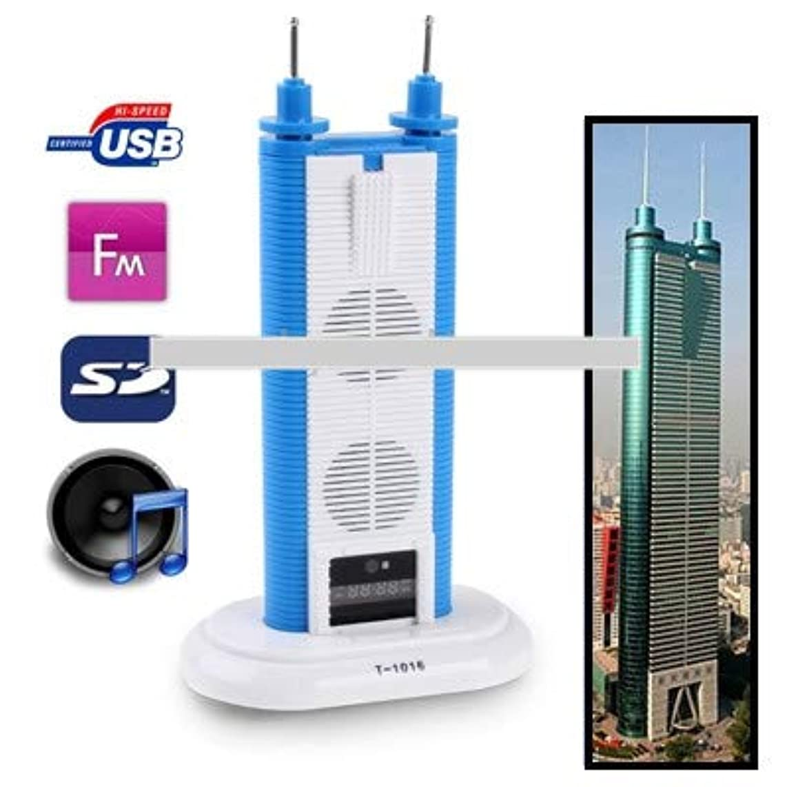 Card Reader Speaker with FM Radio, Built-in Rechargeable Battery, Support TF Card and USB Flash Disk(Dark Blue)